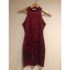 Sleeveless Suede Body Con Dress